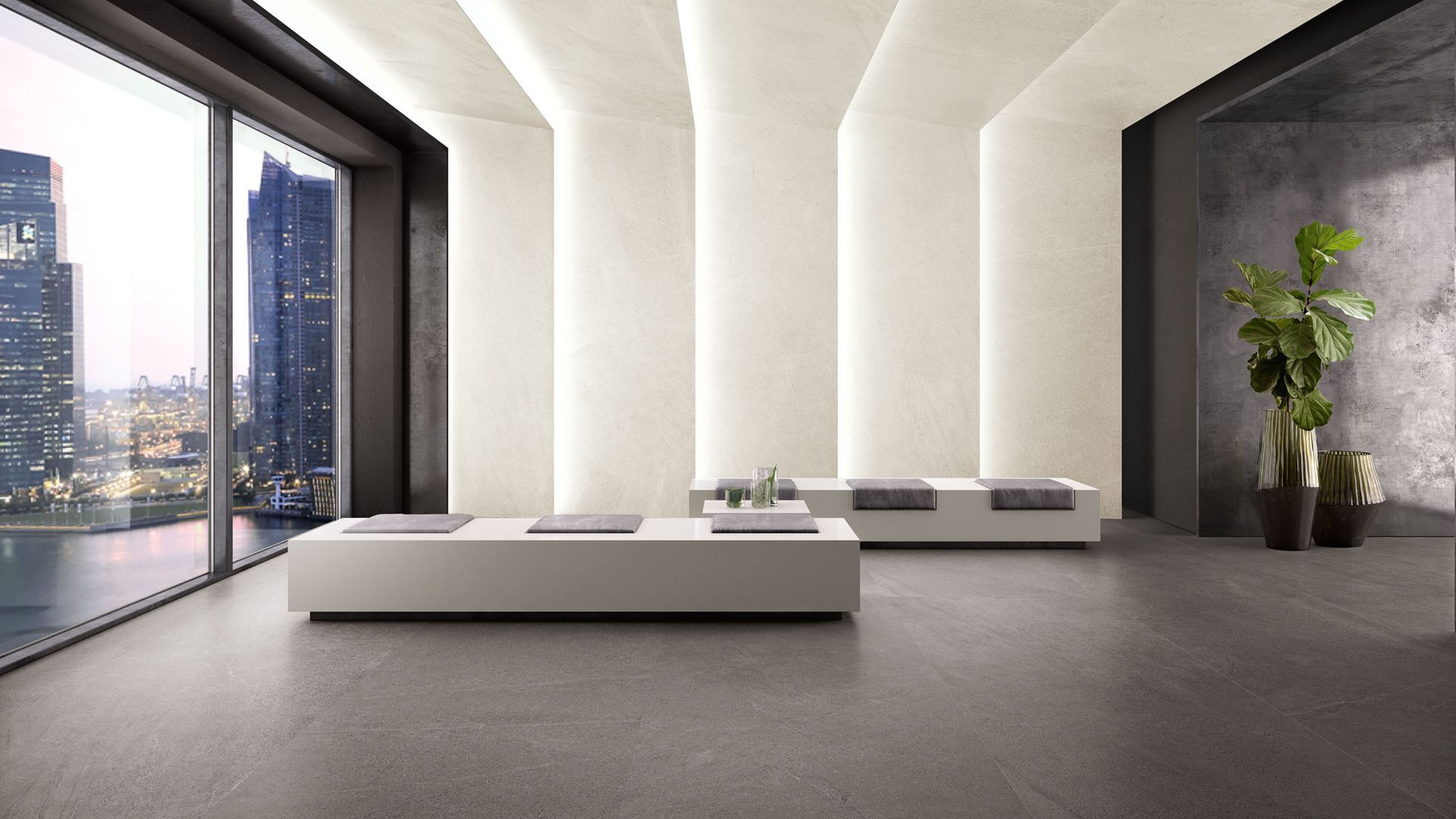 Contemporary black and white marble tile illusion floor texture